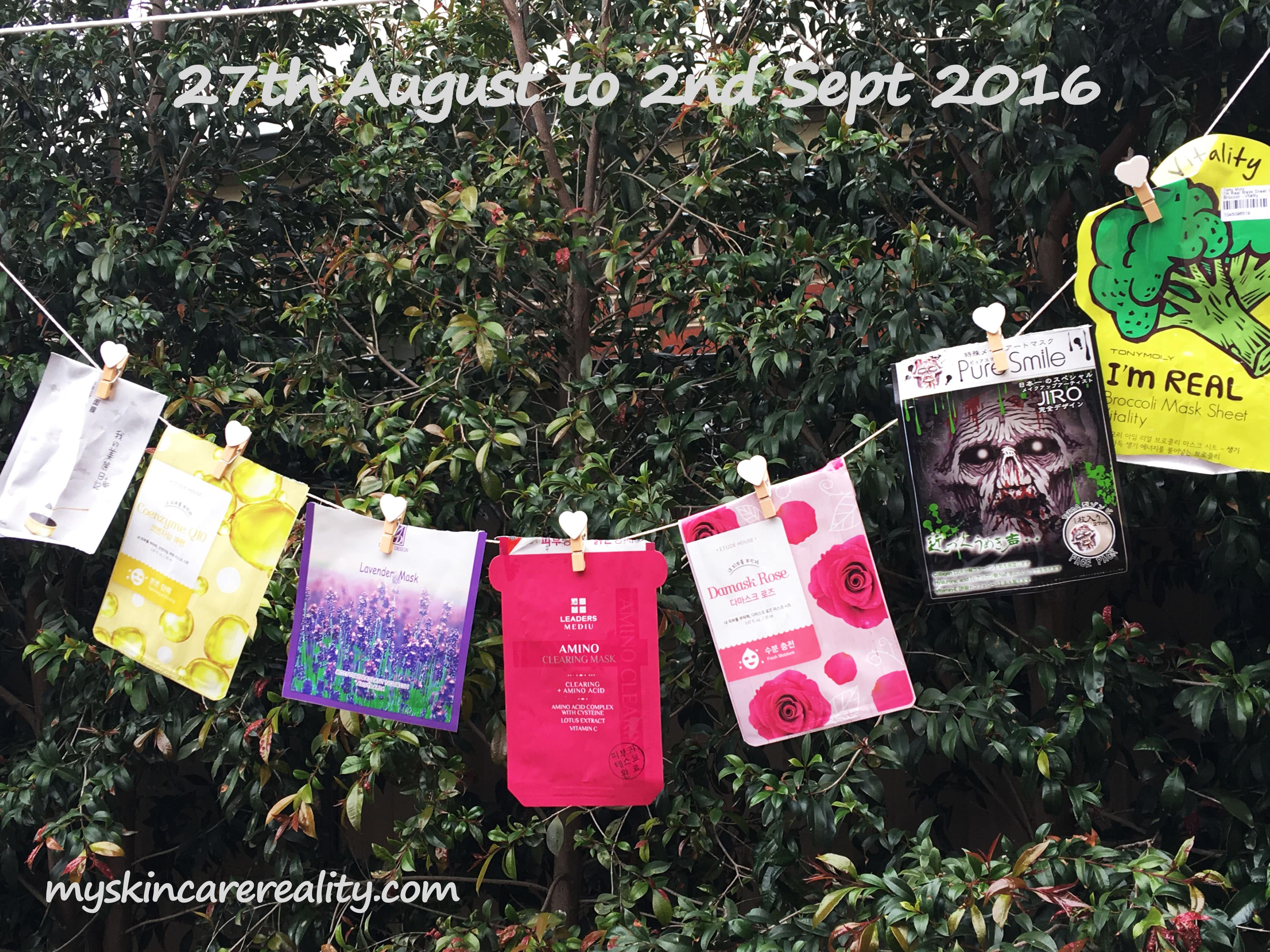 Daily Sheet Masks | Skincare Review | Week of 27th August to 2nd Sept 2016 | My Skincare Reality